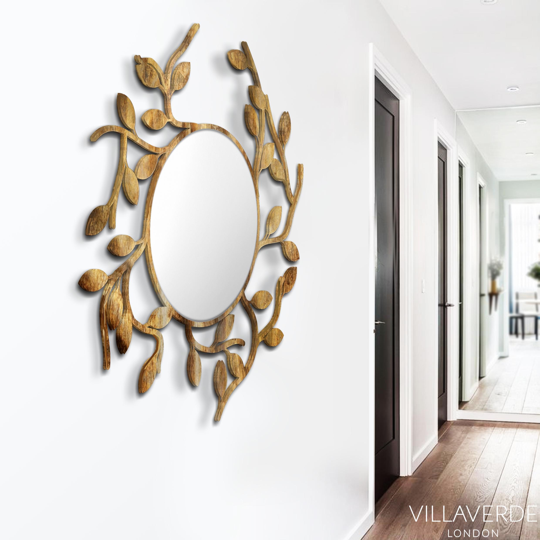 Foliage Round Contemporary Mirror